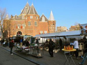 Market on Nieuwmarkt Square Amsterdam