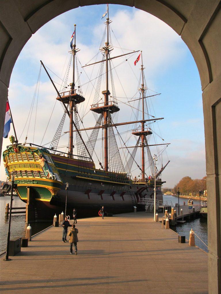 Replica of Dutch VOC ship at the Maritime Museum in Amsterdam.