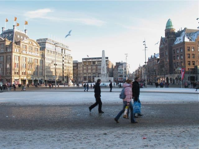 Winter on Dam Square, Amsterdam