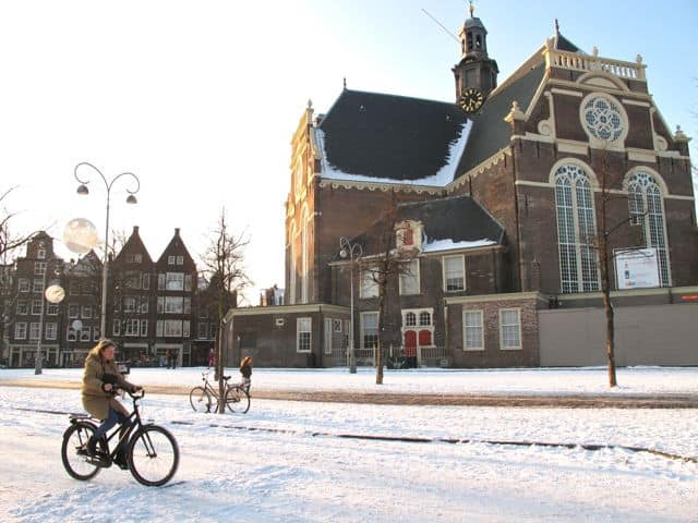 Noorderkerk in winter in Amsterdam