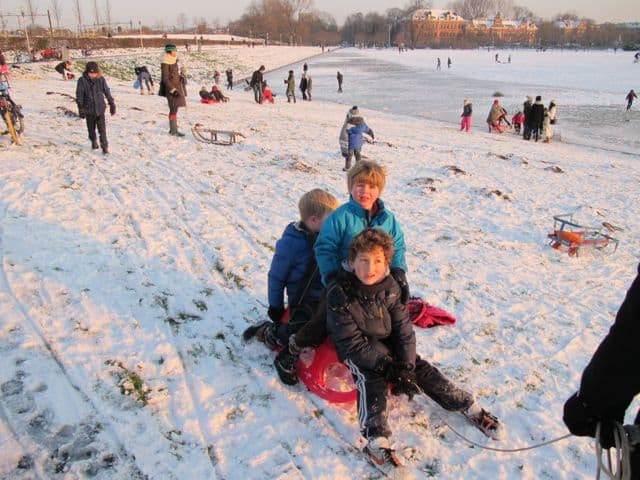 Sledding at Westergasfabriek Amsterdam