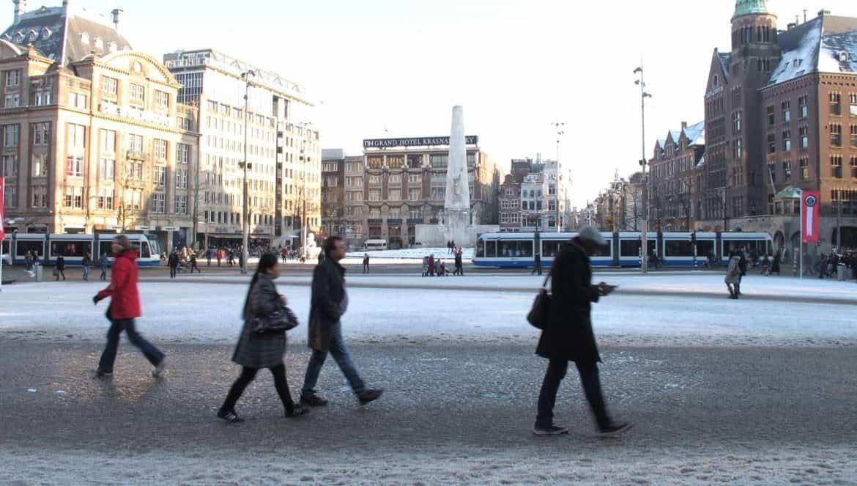 Amsterdam Dam Square in snow