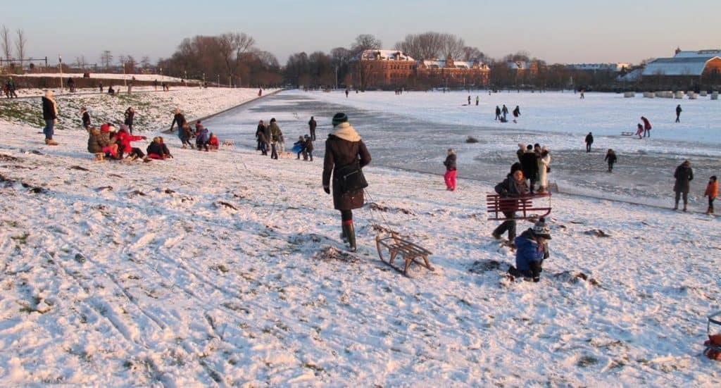 Winter in Amsterdam: sledding