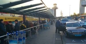 Taxi stand at Amsterdam Airport.