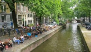 Waterside terrace in Amsterdam