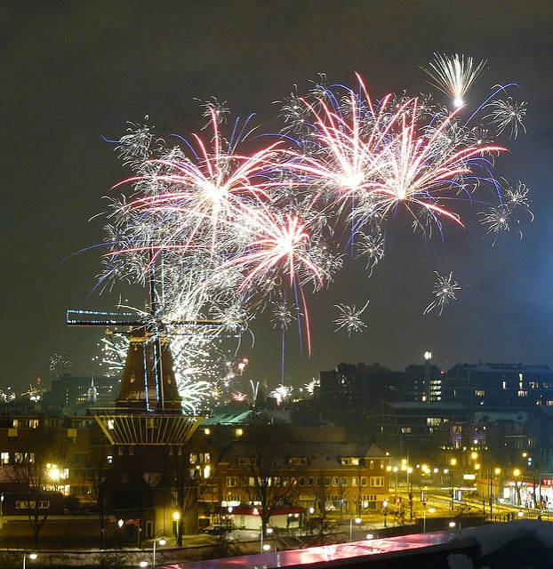 Fireworks over Amsterdam on New Years Eve