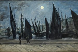 Henri-Charles Guérard, Moon over Honfleur, c. 1890, oil on canvas, 30.2 x 84.5 cm, private collection.