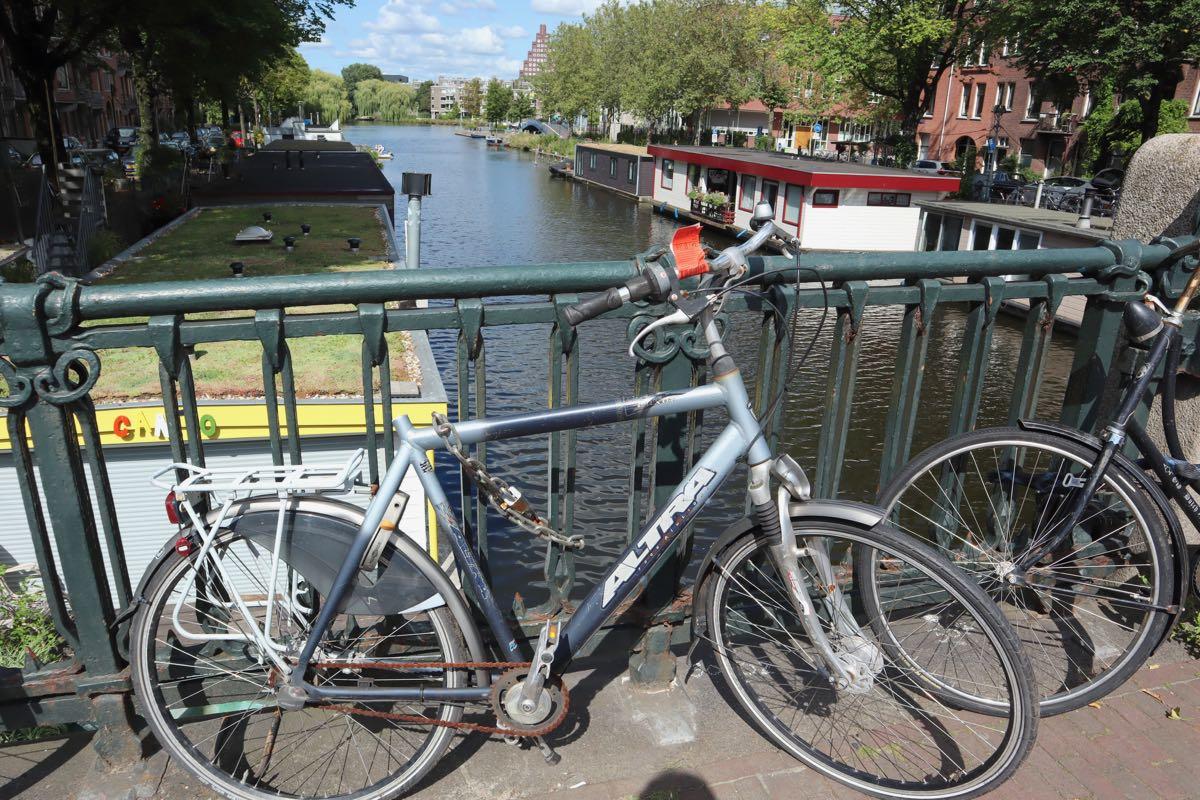 Parked bike on bridge in Amsterdam